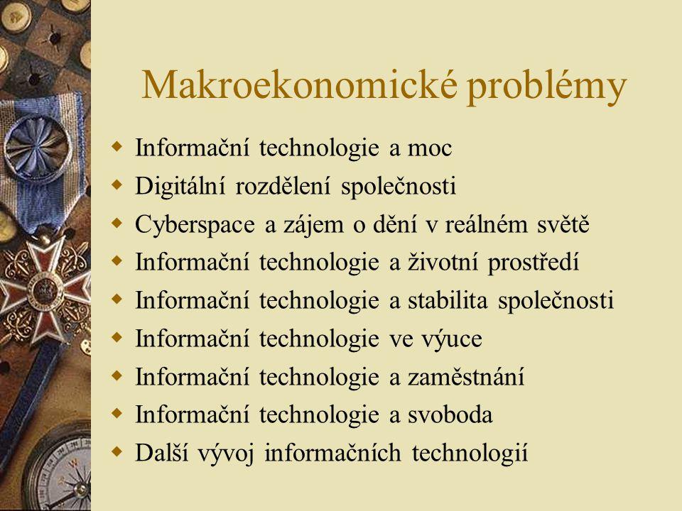 Makroekonomické problémy  Informační technologie a moc  Digitální rozdělení společnosti  Cyberspace a zájem o dění v reálném světě  Informační technologie a životní prostředí  Informační technologie a stabilita společnosti  Informační technologie ve výuce  Informační technologie a zaměstnání  Informační technologie a svoboda  Další vývoj informačních technologií