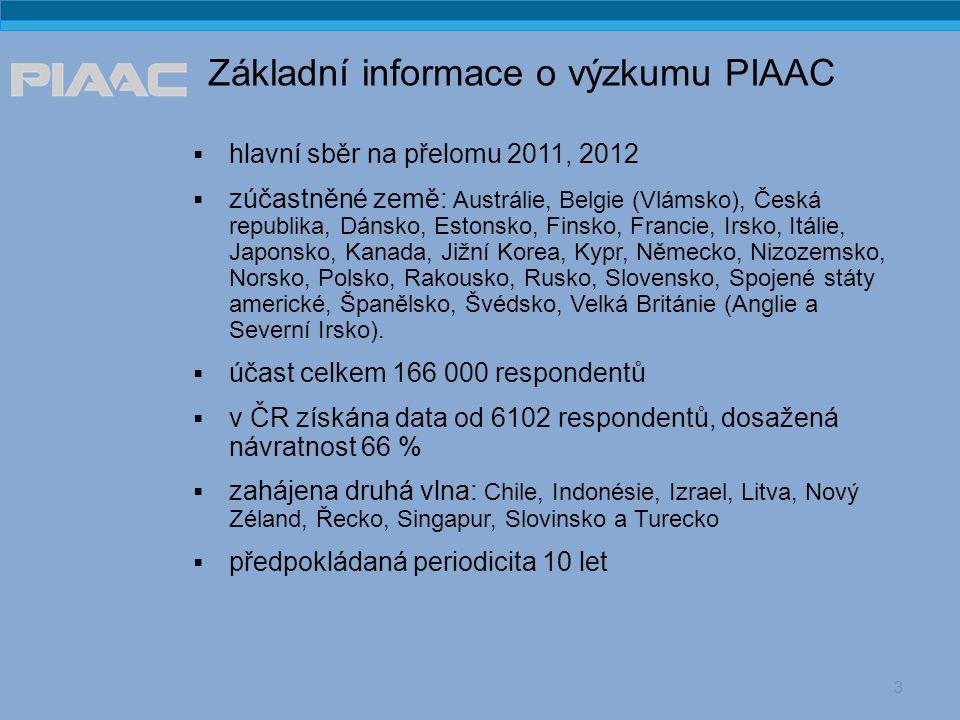 Základní informace o výzkumu PIAAC  hlavní sběr na přelomu 2011, 2012  zúčastněné země: Austrálie, Belgie (Vlámsko), Česká republika, Dánsko, Estonsko, Finsko, Francie, Irsko, Itálie, Japonsko, Kanada, Jižní Korea, Kypr, Německo, Nizozemsko, Norsko, Polsko, Rakousko, Rusko, Slovensko, Spojené státy americké, Španělsko, Švédsko, Velká Británie (Anglie a Severní Irsko).