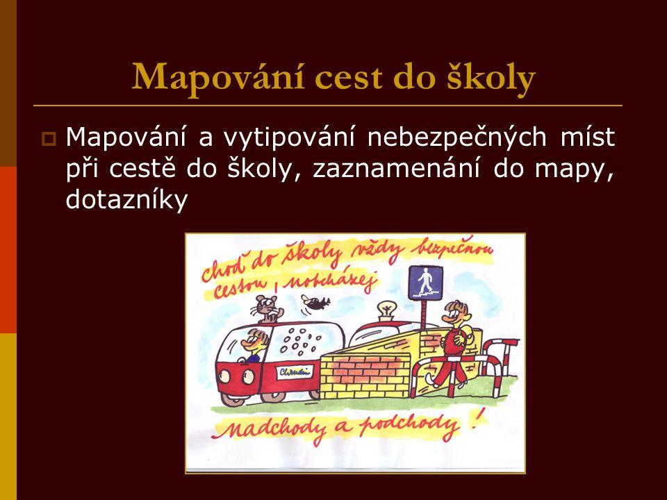Mapování cest do školy  Mapování a vytipování nebezpečných míst při cestě do školy, zaznamenání do mapy, dotazníky