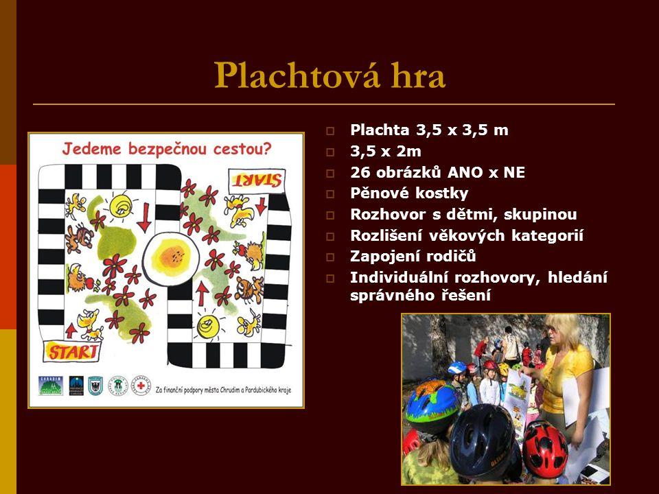 Plachtová hra  Plachta 3,5 x 3,5 m  3,5 x 2m  26 obrázků ANO x NE  Pěnové kostky  Rozhovor s dětmi, skupinou  Rozlišení věkových kategorií  Zapojení rodičů  Individuální rozhovory, hledání správného řešení
