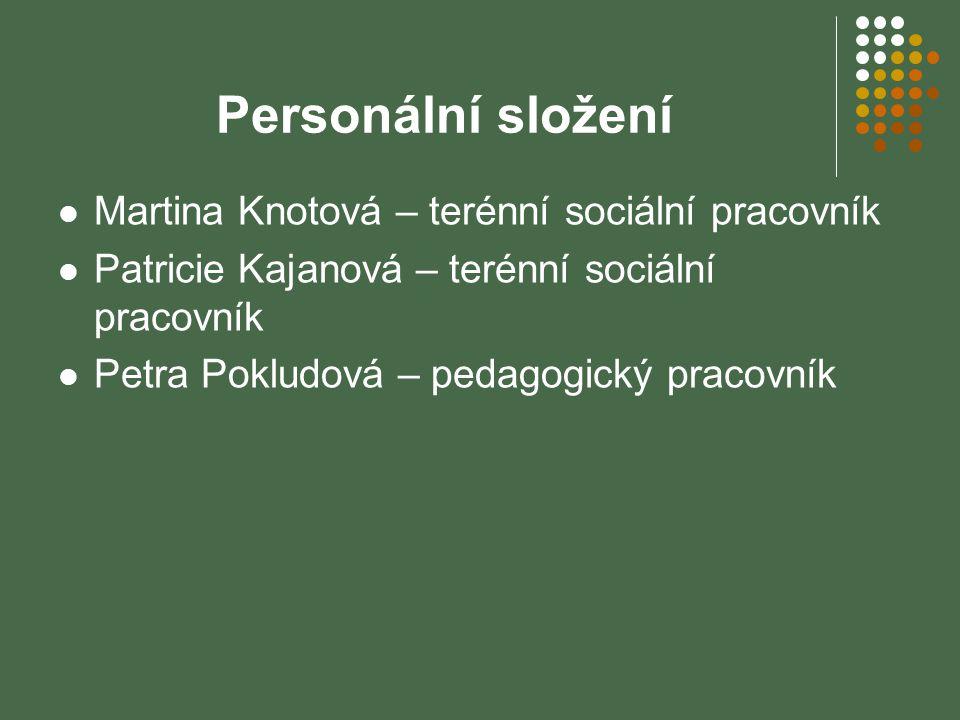 Personální složení Martina Knotová – terénní sociální pracovník Patricie Kajanová – terénní sociální pracovník Petra Pokludová – pedagogický pracovník