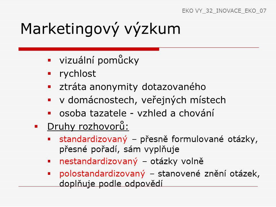 Marketingový výzkum  vizuální pomůcky  rychlost  ztráta anonymity dotazovaného  v domácnostech, veřejných místech  osoba tazatele - vzhled a chování  Druhy rozhovorů:  standardizovaný – přesně formulované otázky, přesné pořadí, sám vyplňuje  nestandardizovaný – otázky volně  polostandardizovaný – stanovené znění otázek, doplňuje podle odpovědí EKO VY_32_INOVACE_EKO_07