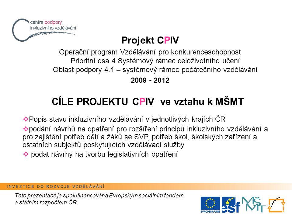 Tato prezentace je spolufinancována Evropským sociálním fondem a státním rozpočtem ČR.