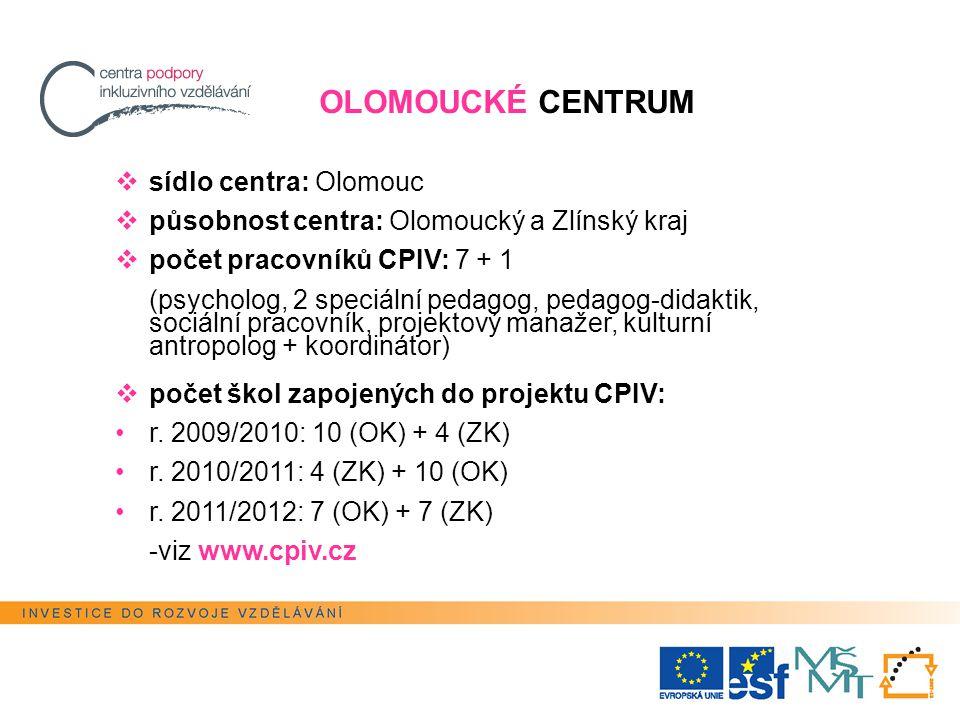 OLOMOUCKÉ CENTRUM  sídlo centra: Olomouc  působnost centra: Olomoucký a Zlínský kraj  počet pracovníků CPIV: 7 + 1 (psycholog, 2 speciální pedagog, pedagog-didaktik, sociální pracovník, projektový manažer, kulturní antropolog + koordinátor)  počet škol zapojených do projektu CPIV: r.