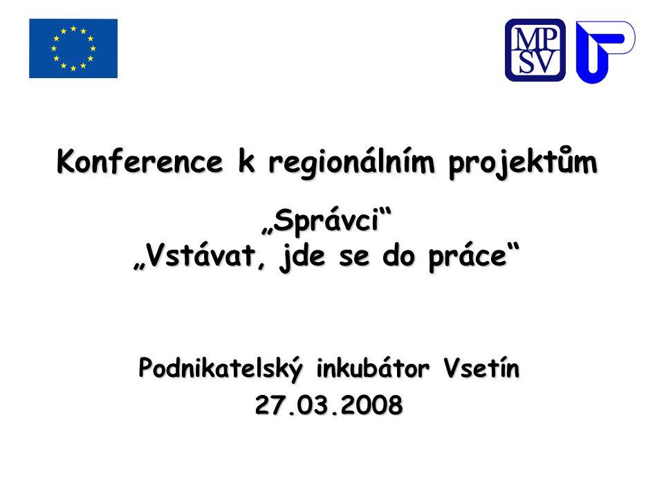 """Konference k regionálním projektům """"Správci """"Vstávat, jde se do práce Podnikatelský inkubátor Vsetín 27.03.2008"""