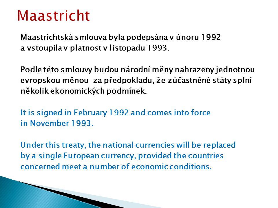 Maastrichtská smlouva byla podepsána v únoru 1992 a vstoupila v platnost v listopadu 1993.