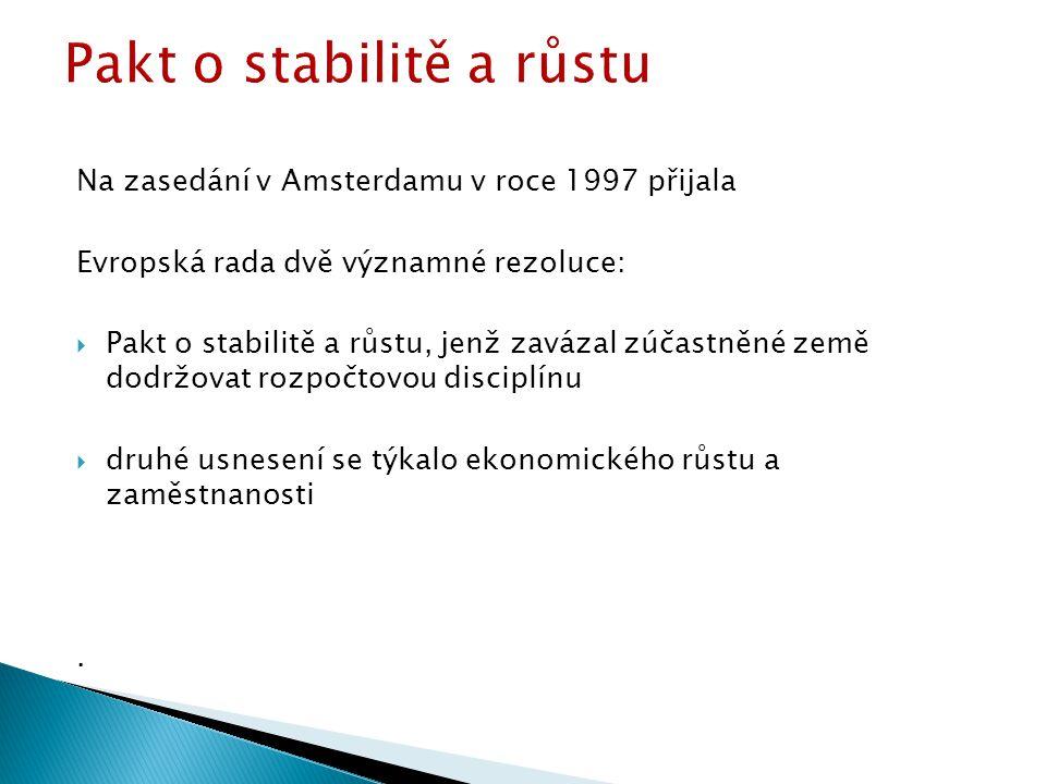 Na zasedání v Amsterdamu v roce 1997 přijala Evropská rada dvě významné rezoluce:  Pakt o stabilitě a růstu, jenž zavázal zúčastněné země dodržovat rozpočtovou disciplínu  druhé usnesení se týkalo ekonomického růstu a zaměstnanosti.