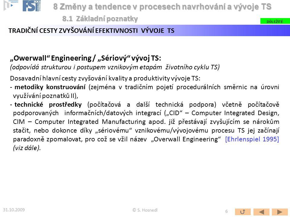 """""""Owerwall"""" Engineering / """"Sériový"""" vývoj TS: (odpovídá strukturou i postupem vznikovým etapám životního cyklu TS) Dosavadní hlavní cesty zvyšování kva"""