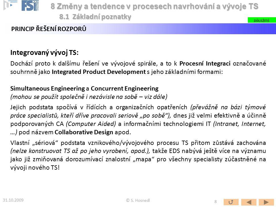 Integrovaný vývoj TS: Dochází proto k dalšímu řešení ve vývojové spirále, a to k Procesní Integraci označované souhrnně jako Integrated Product Develo