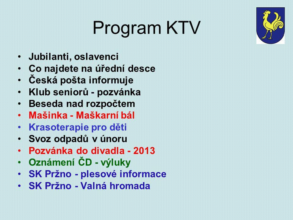 Program KTV Jubilanti, oslavenci Co najdete na úřední desce Česká pošta informuje Klub seniorů - pozvánka Beseda nad rozpočtem Mašinka - Maškarní bál