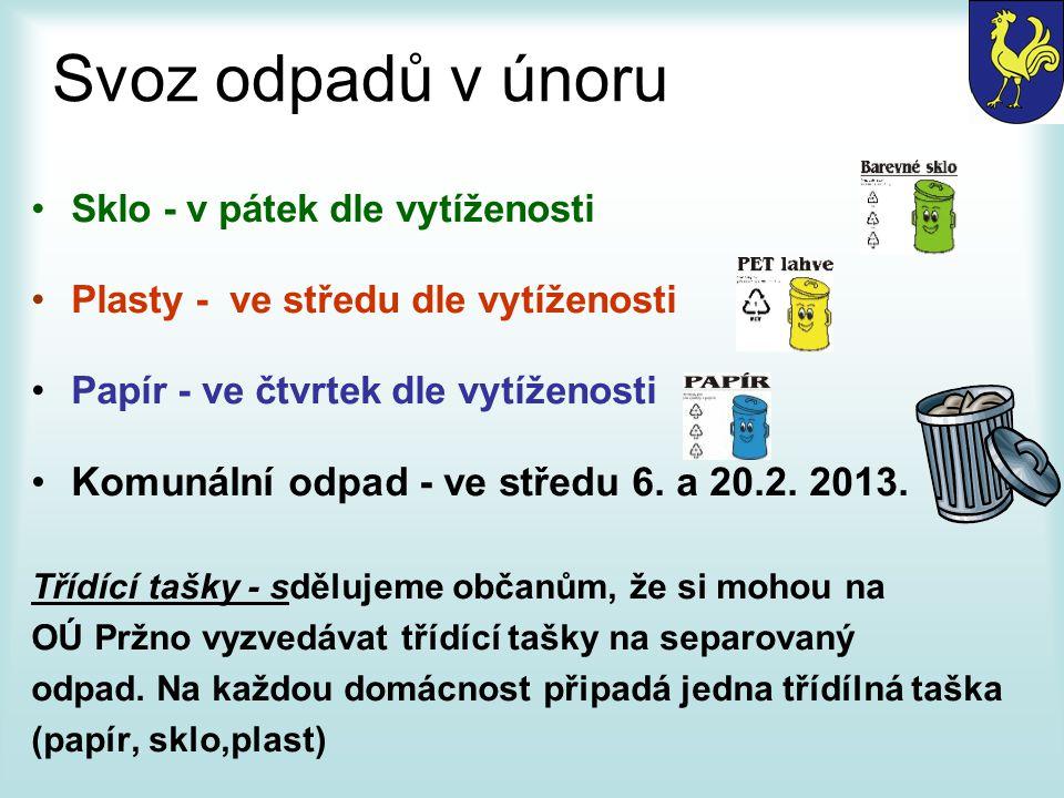 Svoz odpadů v únoru Sklo - v pátek dle vytíženosti Plasty - ve středu dle vytíženosti Papír - ve čtvrtek dle vytíženosti Komunální odpad - ve středu 6.