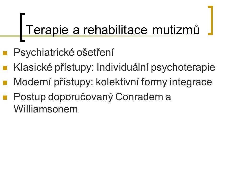Terapie a rehabilitace mutizmů Psychiatrické ošetření Klasické přístupy: Individuální psychoterapie Moderní přístupy: kolektivní formy integrace Postu