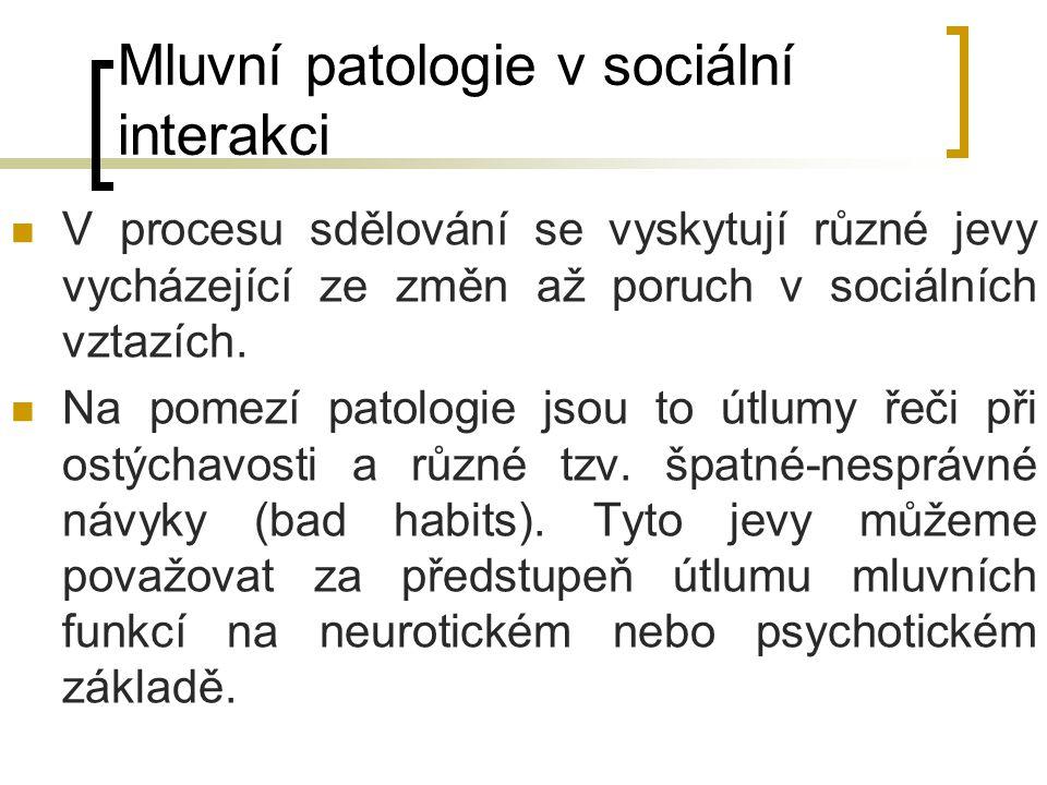 Mluvní patologie v sociální interakci V procesu sdělování se vyskytují různé jevy vycházející ze změn až poruch v sociálních vztazích. Na pomezí patol