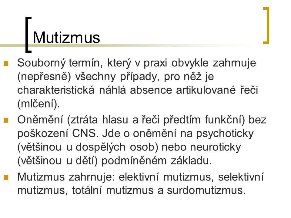 Mutizmus Souborný termín, který v praxi obvykle zahrnuje (nepřesně) všechny případy, pro něž je charakteristická náhlá absence artikulované řeči (mlče