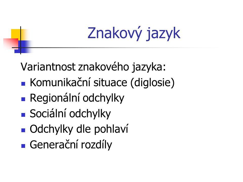 Znakový jazyk Druhy znaků ve znakovém jazyce: Ukazovací (deiktické) Napodobovací (ikonické) Symbolické (arbitrární)