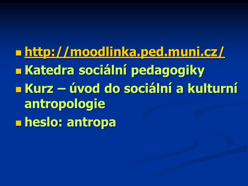 http://moodlinka.ped.muni.cz/ http://moodlinka.ped.muni.cz/ http://moodlinka.ped.muni.cz/ Katedra sociální pedagogiky Katedra sociální pedagogiky Kurz – úvod do sociální a kulturní antropologie Kurz – úvod do sociální a kulturní antropologie heslo: antropa heslo: antropa