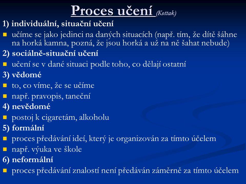 Proces učení Proces učení (Kottak) 1) individuální, situační učení učíme se jako jedinci na daných situacích (např.