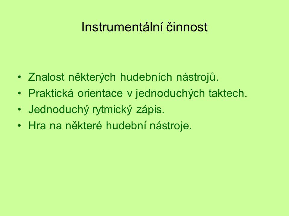 Instrumentální činnost Znalost některých hudebních nástrojů.