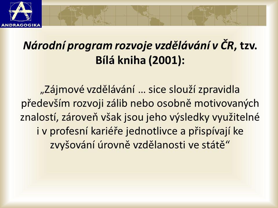 """Národní program rozvoje vzdělávání v ČR, tzv. Bílá kniha (2001): """" Zájmové vzdělávání … sice slouží zpravidla především rozvoji zálib nebo osobně moti"""