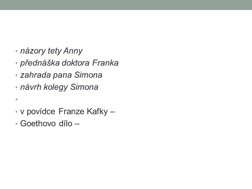 názory tety Anny přednáška doktora Franka zahrada pana Simona návrh kolegy Simona v povídce Franze Kafky – Goethovo dílo –