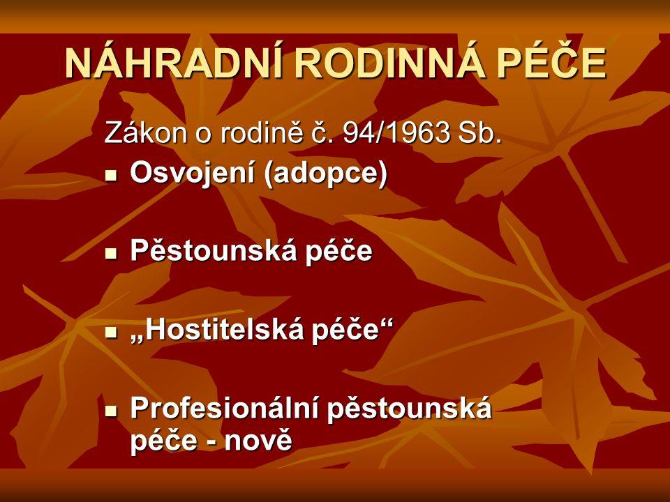 NÁHRADNÍ RODINNÁ PÉČE Zákon o rodině č. 94/1963 Sb.