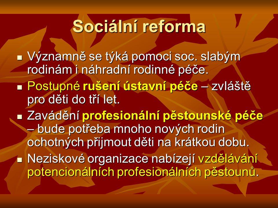 Sociální reforma Významně se týká pomoci soc. slabým rodinám i náhradní rodinné péče.