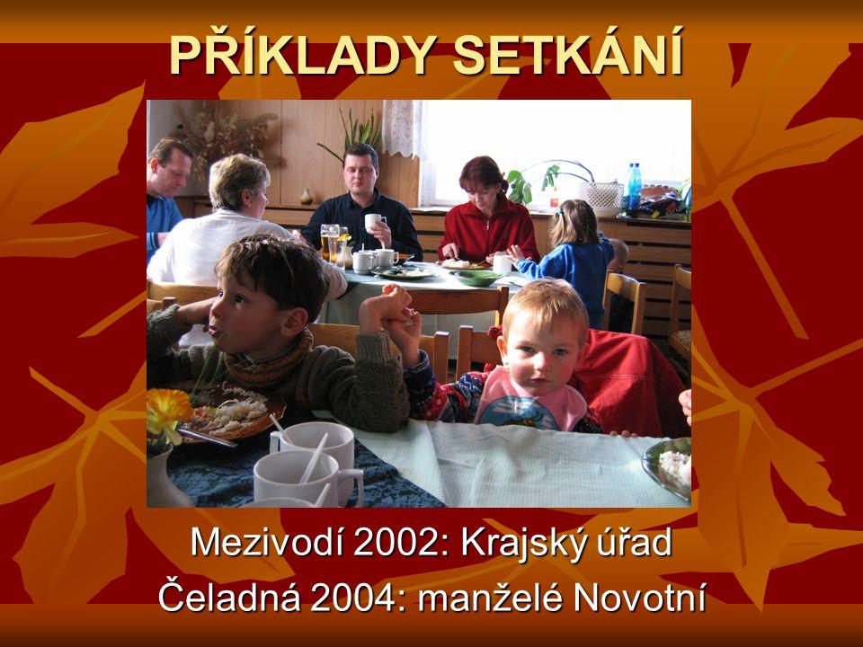 PŘÍKLADY SETKÁNÍ Mezivodí 2002: Krajský úřad Čeladná 2004: manželé Novotní