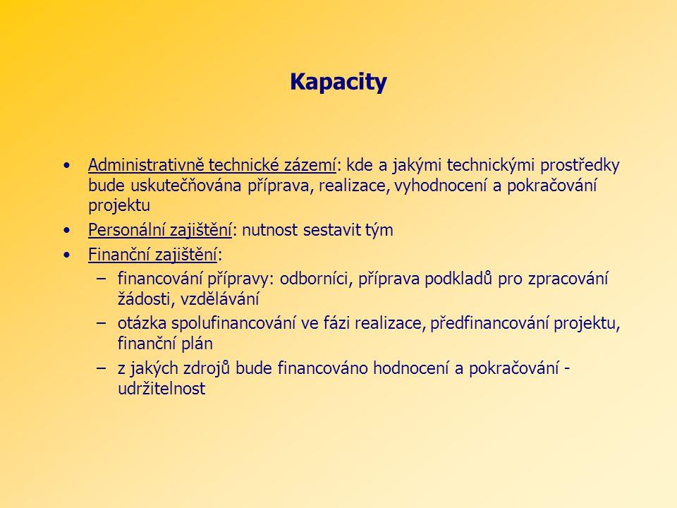 Kapacity Administrativně technické zázemí: kde a jakými technickými prostředky bude uskutečňována příprava, realizace, vyhodnocení a pokračování projektu Personální zajištění: nutnost sestavit tým Finanční zajištění: –financování přípravy: odborníci, příprava podkladů pro zpracování žádosti, vzdělávání –otázka spolufinancování ve fázi realizace, předfinancování projektu, finanční plán –z jakých zdrojů bude financováno hodnocení a pokračování - udržitelnost