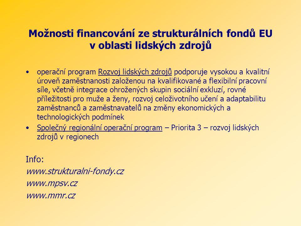 Možnosti financování ze strukturálních fondů EU v oblasti lidských zdrojů operační program Rozvoj lidských zdrojů podporuje vysokou a kvalitní úroveň