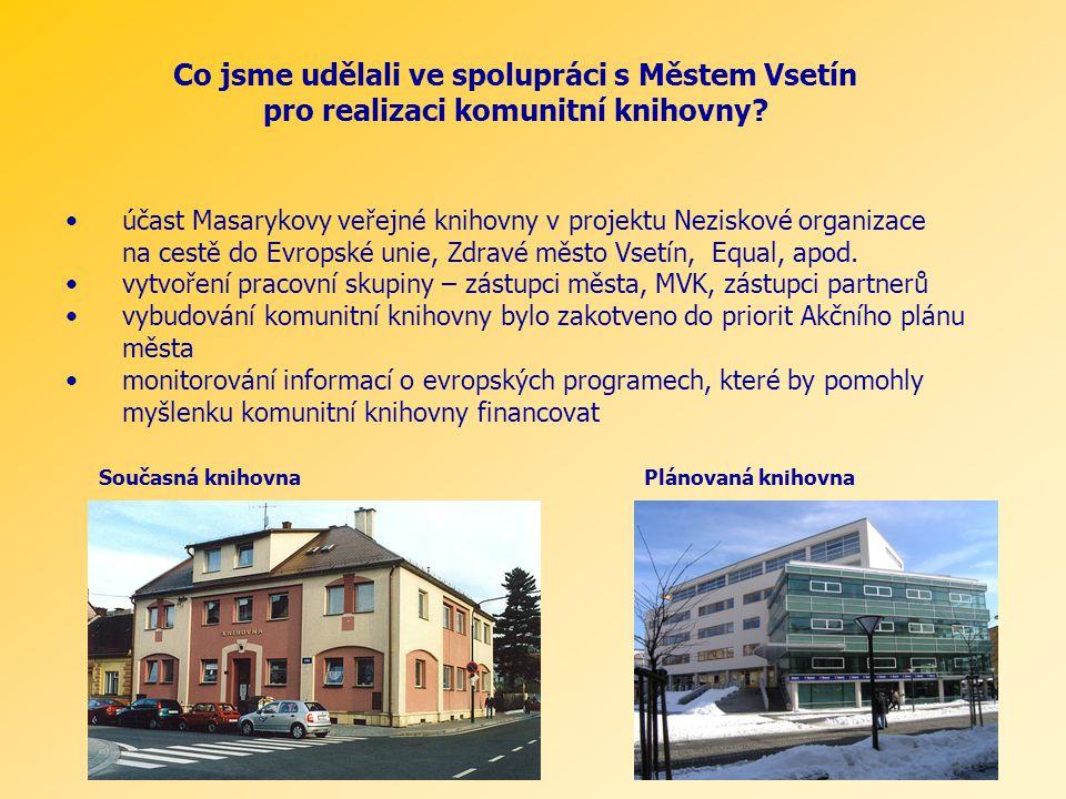 Co jsme udělali ve spolupráci s Městem Vsetín pro realizaci komunitní knihovny? účast Masarykovy veřejné knihovny v projektu Neziskové organizace na c