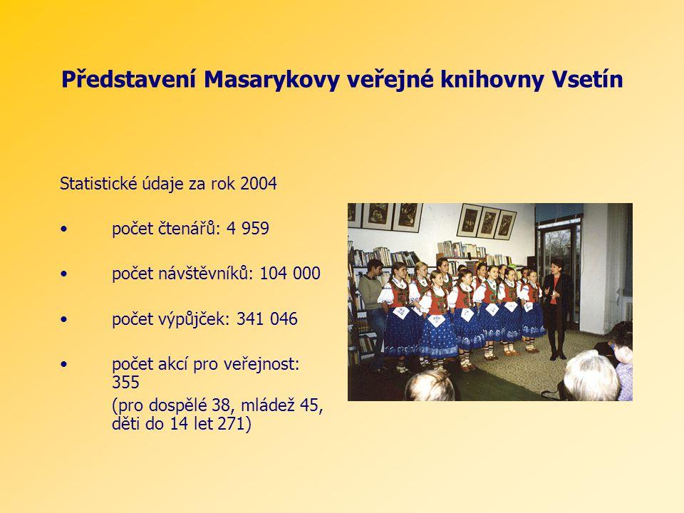 Představení Masarykovy veřejné knihovny Vsetín Statistické údaje za rok 2004 počet čtenářů: 4 959 počet návštěvníků: 104 000 počet výpůjček: 341 046 počet akcí pro veřejnost: 355 (pro dospělé 38, mládež 45, děti do 14 let 271)