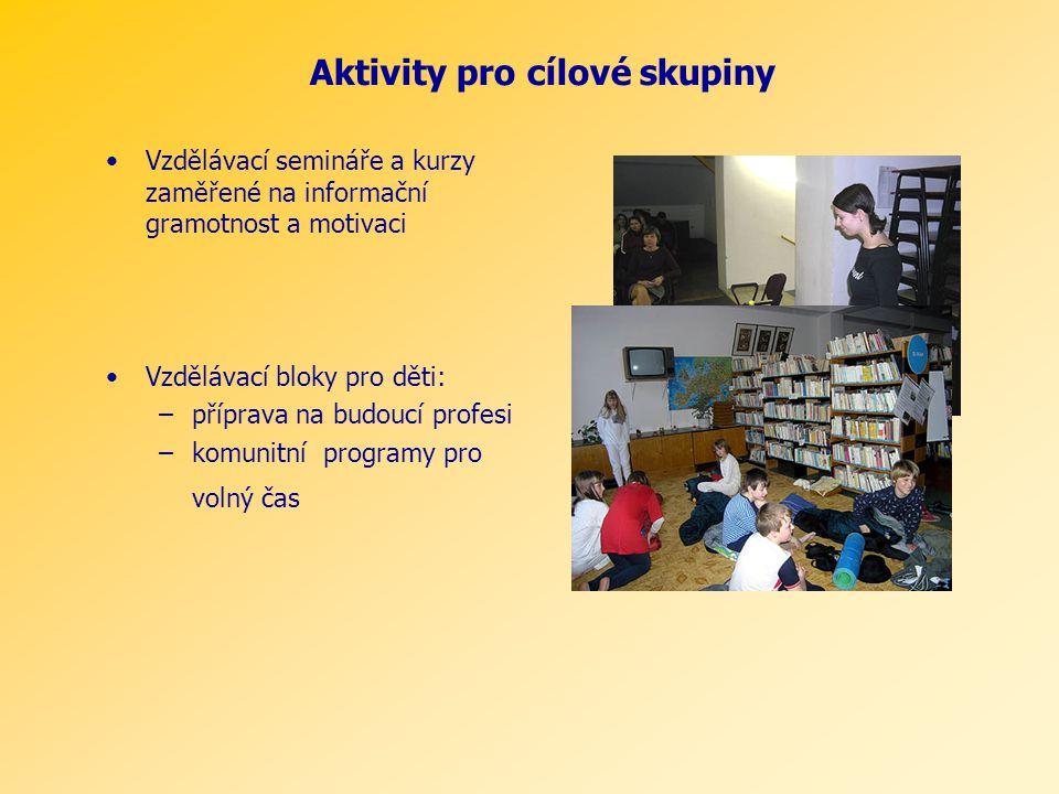 Vzdělávací semináře a kurzy zaměřené na informační gramotnost a motivaci Vzdělávací bloky pro děti: –příprava na budoucí profesi –komunitní programy p