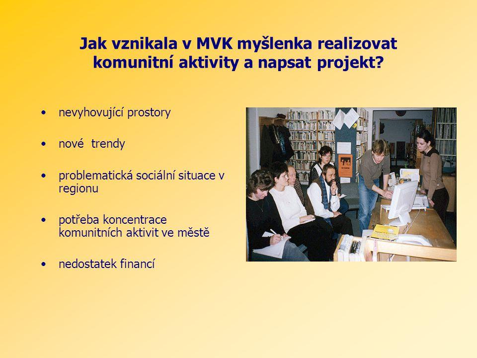 Jak vznikala v MVK myšlenka realizovat komunitní aktivity a napsat projekt? nevyhovující prostory nové trendy problematická sociální situace v regionu