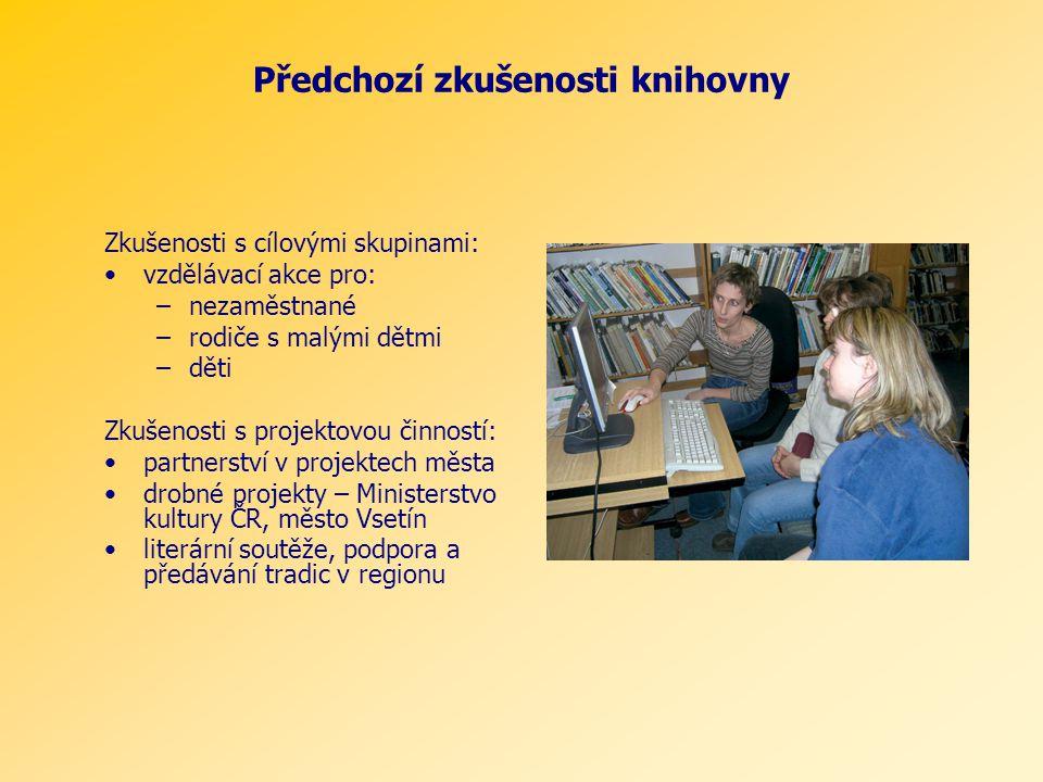 Předchozí zkušenosti knihovny Zkušenosti s cílovými skupinami: vzdělávací akce pro: –nezaměstnané –rodiče s malými dětmi –děti Zkušenosti s projektovo