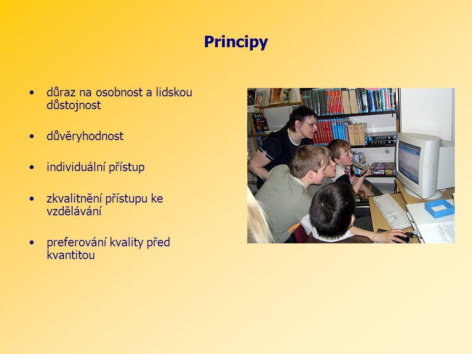 Principy důraz na osobnost a lidskou důstojnost důvěryhodnost individuální přístup zkvalitnění přístupu ke vzdělávání preferování kvality před kvantitou