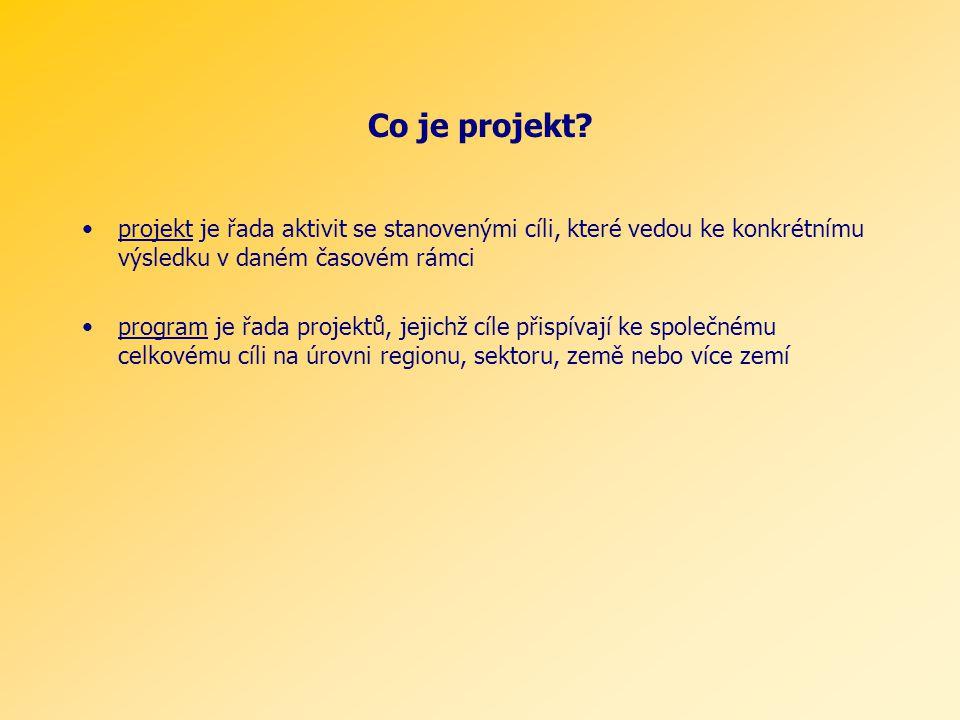 Co je projekt? projekt je řada aktivit se stanovenými cíli, které vedou ke konkrétnímu výsledku v daném časovém rámci program je řada projektů, jejich