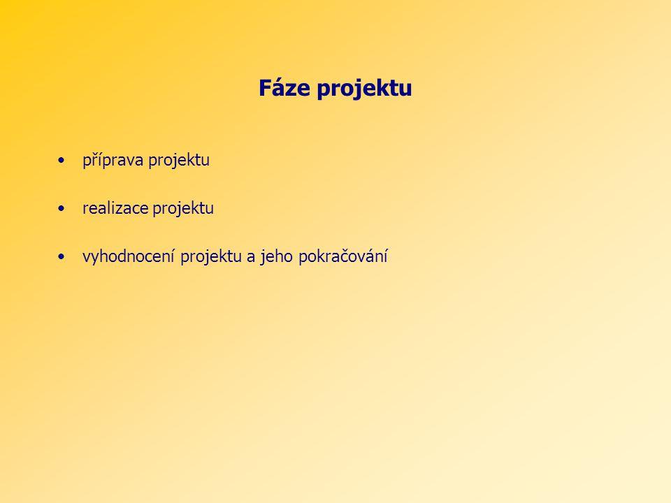 Fáze projektu příprava projektu realizace projektu vyhodnocení projektu a jeho pokračování