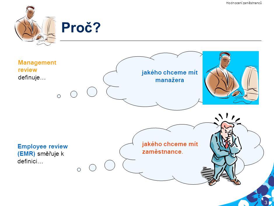 PRG-CQQ006-20050201-12040P1E 3 Proč? jakého chceme mít manažera jakého chceme mít zaměstnance. Management review definuje… Employee review (EMR) směřu