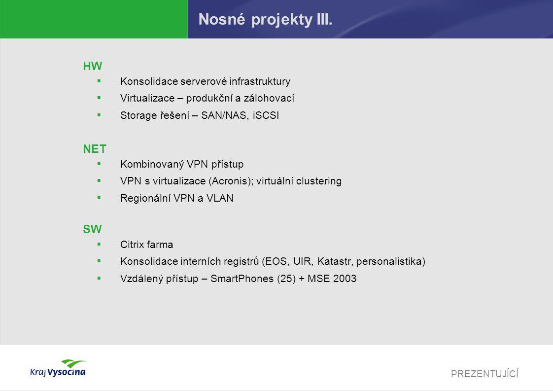 PREZENTUJÍCÍ Nosné projekty III. HW  Konsolidace serverové infrastruktury  Virtualizace – produkční a zálohovací  Storage řešení – SAN/NAS, iSCSI N