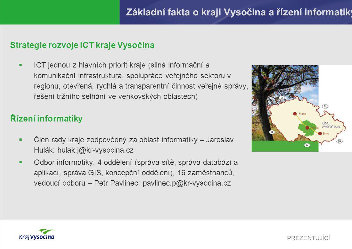 PREZENTUJÍCÍ Základní fakta o kraji Vysočina a řízení informatiky Strategie rozvoje ICT kraje Vysočina  ICT jednou z hlavních priorit kraje (silná in