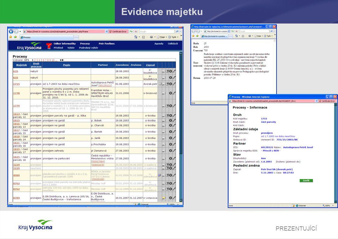 PREZENTUJÍCÍ Evidence majetku
