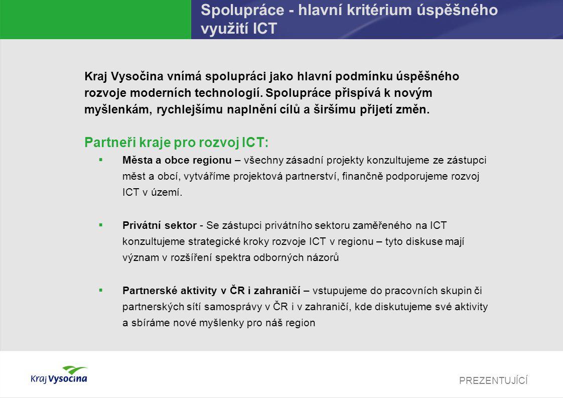 PREZENTUJÍCÍ Spolupráce - hlavní kritérium úspěšného využití ICT Kraj Vysočina vnímá spolupráci jako hlavní podmínku úspěšného rozvoje moderních techn
