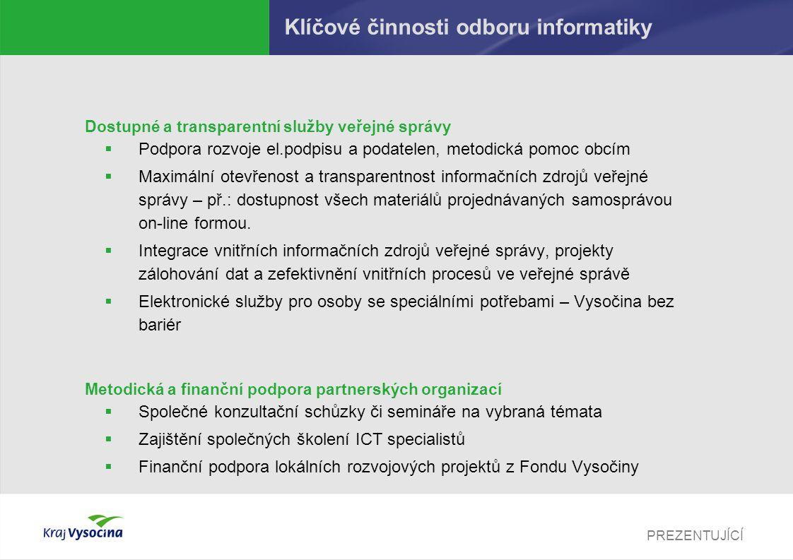 PREZENTUJÍCÍ Klíčové činnosti odboru informatiky Dostupné a transparentní služby veřejné správy  Podpora rozvoje el.podpisu a podatelen, metodická po