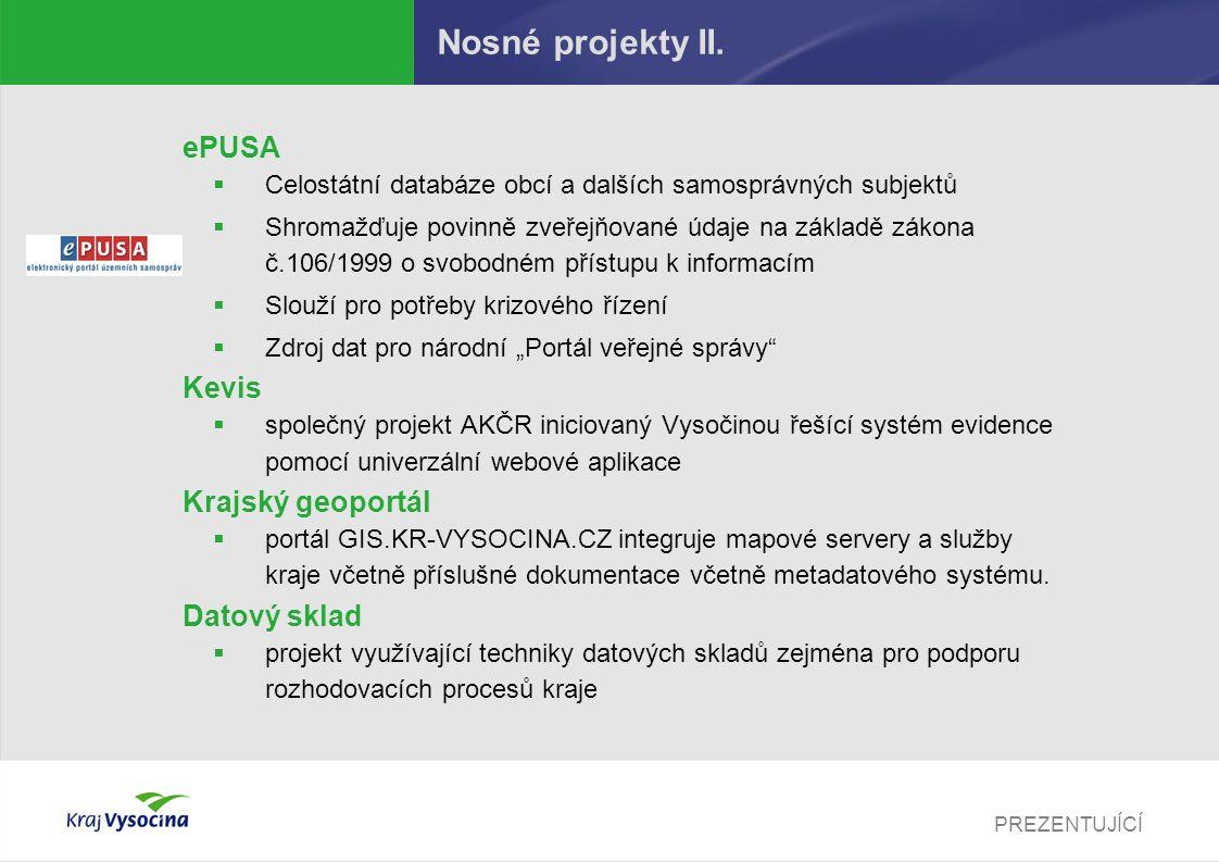 PREZENTUJÍCÍ Nosné projekty II. ePUSA  Celostátní databáze obcí a dalších samosprávných subjektů  Shromažďuje povinně zveřejňované údaje na základě