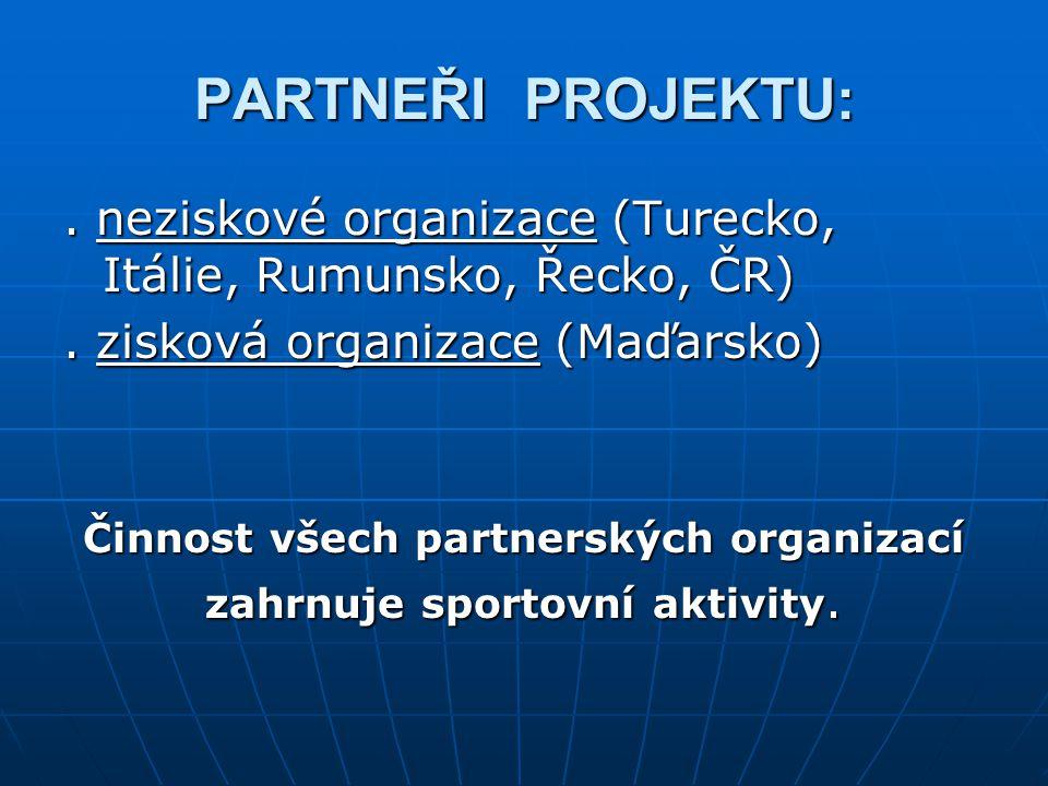 PARTNEŘI PROJEKTU:. neziskové organizace (Turecko, Itálie, Rumunsko, Řecko, ČR).