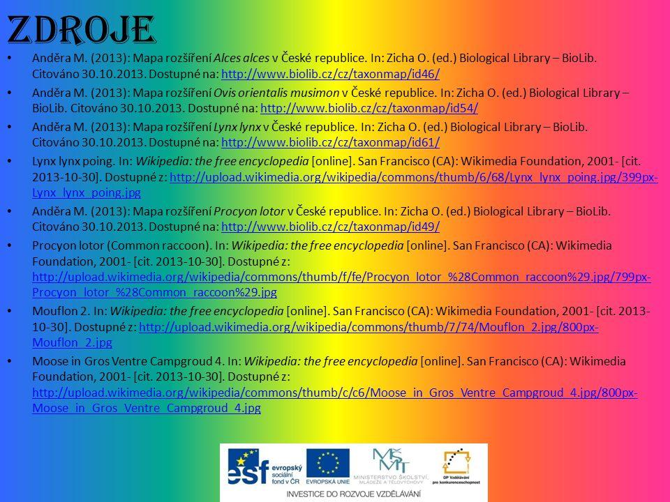 Zdroje Anděra M. (2013): Mapa rozšíření Alces alces v České republice. In: Zicha O. (ed.) Biological Library – BioLib. Citováno 30.10.2013. Dostupné n
