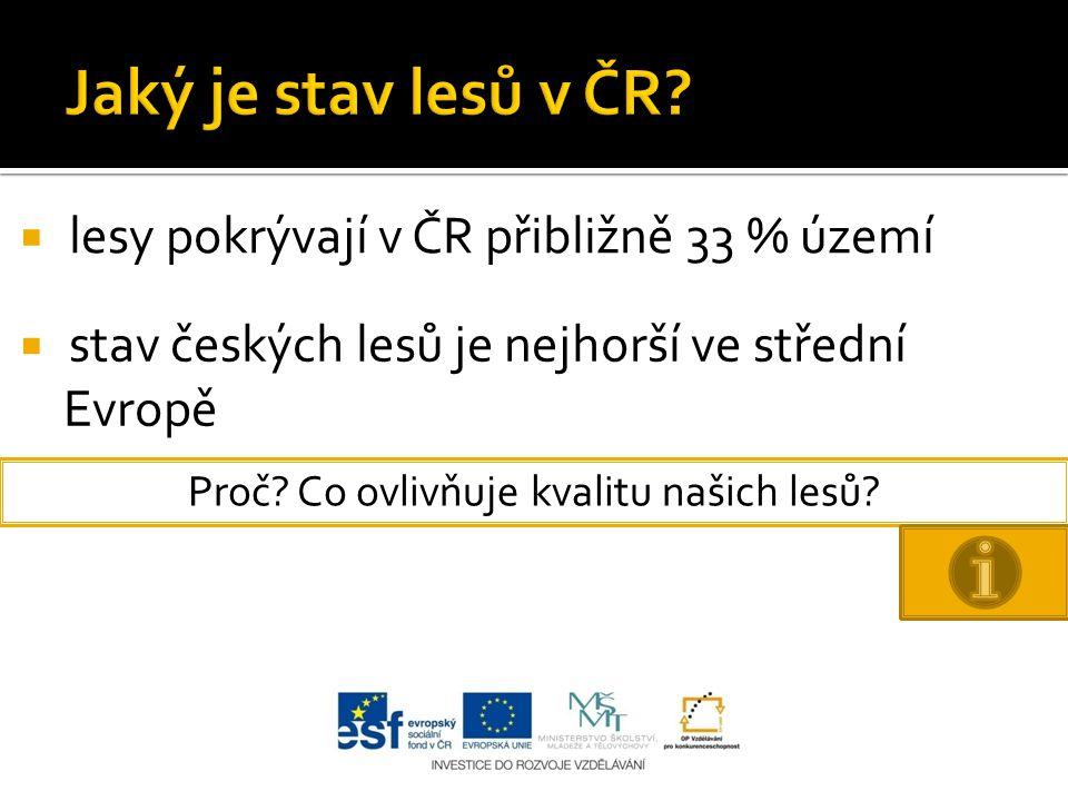  lesy pokrývají v ČR přibližně 33 % území  stav českých lesů je nejhorší ve střední Evropě Proč? Co ovlivňuje kvalitu našich lesů?