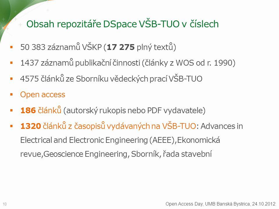 Obsah repozitáře DSpace VŠB-TUO v číslech  50 383 záznamů VŠKP (17 275 plný textů)  1437 záznamů publikační činnosti (články z WOS od r. 1990)  457