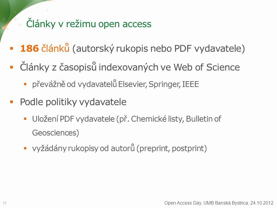 Články v režimu open access  186 článků (autorský rukopis nebo PDF vydavatele)  Články z časopisů indexovaných ve Web of Science  převážně od vydavatelů Elsevier, Springer, IEEE  Podle politiky vydavatele  Uložení PDF vydavatele (př.