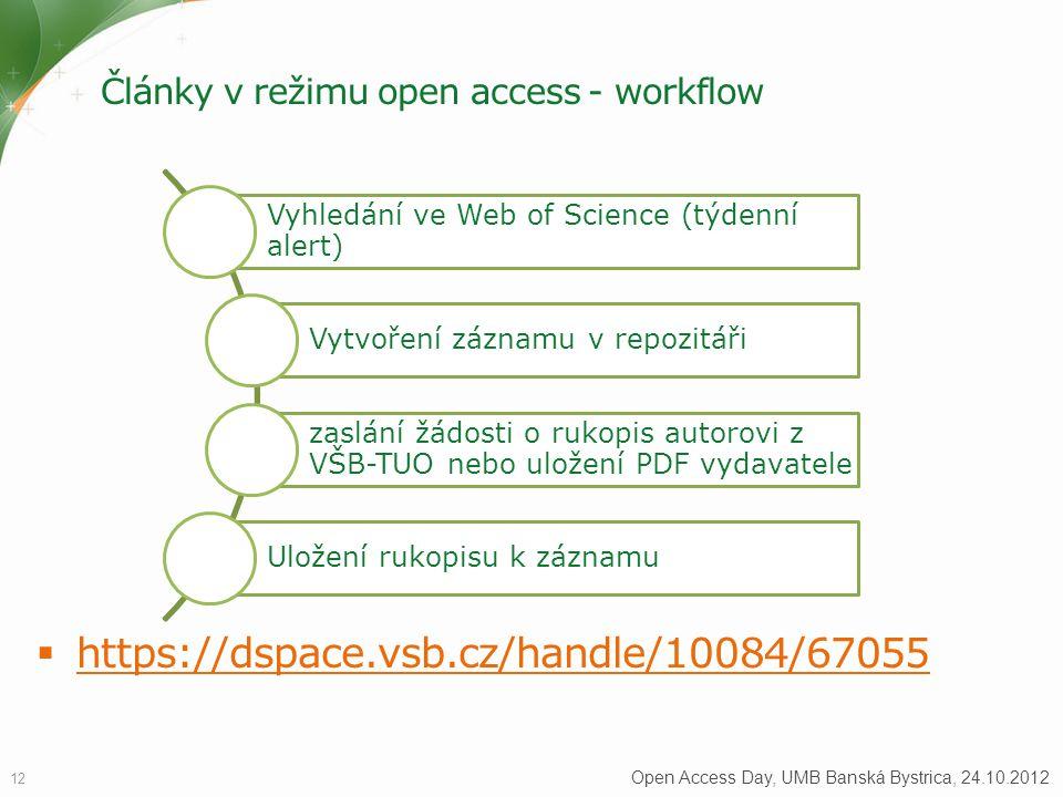 Články v režimu open access - workflow  https://dspace.vsb.cz/handle/10084/67055 https://dspace.vsb.cz/handle/10084/67055 12 Open Access Day, UMB Banská Bystrica, 24.10.2012 Vyhledání ve Web of Science (týdenní alert) Vytvoření záznamu v repozitáři zaslání žádosti o rukopis autorovi z VŠB-TUO nebo uložení PDF vydavatele Uložení rukopisu k záznamu
